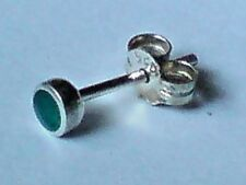 SINGLE STERLING SILVER & GREEN ONYX SMALL ROUND 4mm STUD EARRING £3.95 NWT