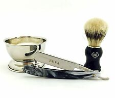 4 Pc Wet Straight Razor, Cup, Soap, Bristle Shaving Brush Set for Him