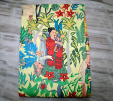 Mexican Queen Print Cotton Fabric Natural Printed Handmade Sanganeri Vintage Art
