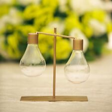 8-Inch tall Gold Metal Stand with Hanging Light Bulb Vases Wedding Centerpieces