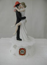 Wedding Ceremony Reception Fireman Bride's Leg Wrap Around Groom Cake Topper