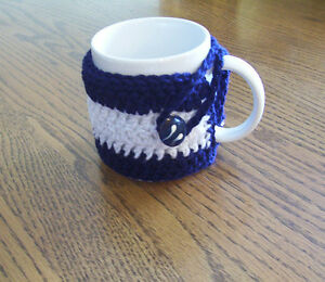 Hand Crochet Navy Blue & White Coffee Mug Cozy