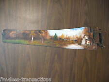 Beautiful Vintage Handpainted Wood Handle Hand Saw Art Log Cabin Nature Scenery