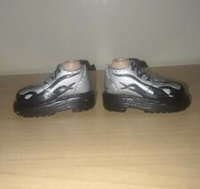 Bratz Boyz Grey And Black Sneakers Shoes With Black Flame Pattern