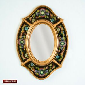 Black Oval wall Mirror with gold color wood frame, Peruvian Ornate Accent Mirror