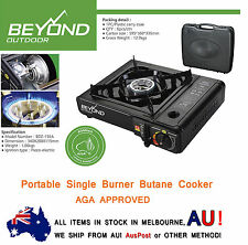 Portable Gas Burner Stove Butane Cooker Camping AGA APPROVE WINDSHIELD W/ CASE