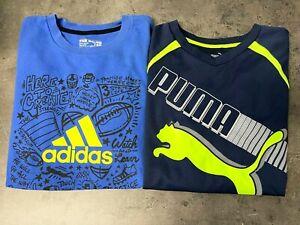 Lot of 2 adidas, Puma Boys Size S Graphic Tees Shirts Navy Blue Logo Graphic