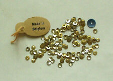 VERY RARE TEENY 3mm METAL GOLD + SILVER ANTIQUE BELGIUM SEQUINS