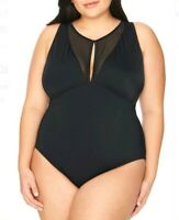 Time and Tru Women's Plus Size Rich Black Mesh One Piece Swimsuit 1X (16W-18W) N