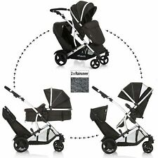 NEW HAUCK BLACK DUETT 2 DOUBLE TANDEM BABY PUSHCHAIR TWIN STROLLER RAINCOVERS