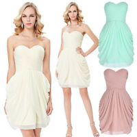 Short Strapless Chiffon Ball Cocktail Evening Prom Party Dress Formal Bridesmaid