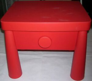 "Ikea Mammut 15346 Red Bedside Sidetable Side Table w/Drawer Kid Furniture 15""(H)"