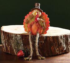 Turkey Shelf Sitters Resin Fall Pumpkin Autumn Thanksgiving Decor Set of 2