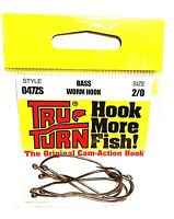 Tru-Turn Bass Worm Fishing Hooks Brass Color (Size 2/0 Hooks)