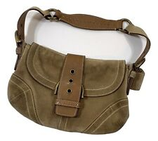 COACH Tan Suede w/ Brown Leather Hand Bag N F05S-9692