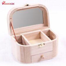 PORTA GIOIE 3 scomparti con specchio e cassetto 16x10 scatola legno decoupage