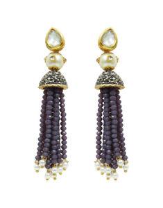 Babosa Sakhi Long Kundan Jhumki Jhumka Beaded Indian Emerald Earring Jewelry