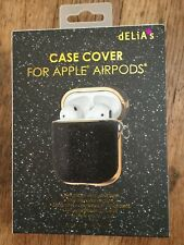 Delia Black/Gold Glitter Case Cover For Apple Airpods Keychain, Port, Nrfb