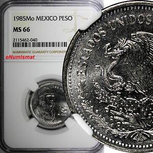 Mexico ESTADOS UNIDOS MEXICANOS 1985 Mo Peso NGC MS66 TOP GRADED KM# 496 (040)