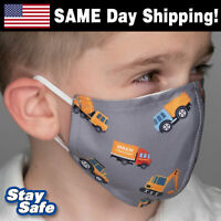 CHILD size CONSTRUCTION Face Mask –INCLUDES 2 FILTERS –30+ Custom Kids Designs