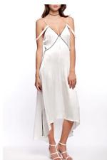 Line + Dot Dita Satin Dress White Ivory Black Piping Cold Shoulder Sz Small