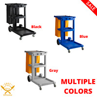 Housekeeping Cleaning Janitor Cart with 3 Shelves and Vinyl Bag MULTIPLE COLORS