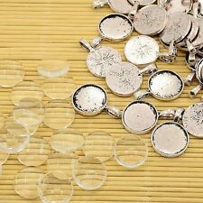 10sets Clear Glass Transparent CABOCHON Settings for Pendant DIY Tibe-x0004-ff