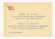 Norwegian America Line NAL - Coctail Party Invitations S.s. Stavangerfjord