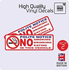 2x Taxi Minicab Private Hire Warning Stickers NO SMOKING Drinking Eating