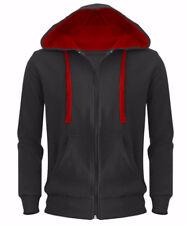 Mens Sweatshirt Hooded American Fleece Zip Up Hoodie Jacket Plain Casual Coat