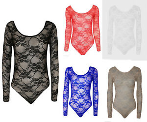 Womens Long Sleeve Lace Floral Bodysuit Stretch Ladies Leotard Body Top UK 8-26