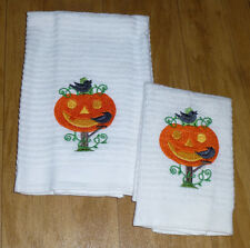 Embroidered HALLOWEEN  Pumpkin and Crow Kitchen Dish Towel and dish cloth set