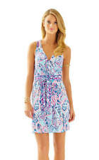 Lilly Pulitzer BELLINA WRAP DRESS Shell Me About It Blue Pink-XL