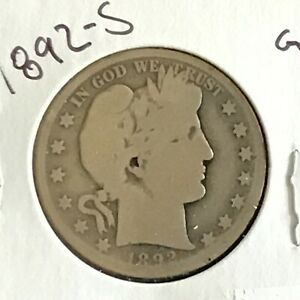 1892-S Barber Silver Half Dollar First Year of Issue Key Date    E8542