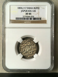 1896 INDIA (Jaipur) - Silver Rupee - NGC XF45 - 189X//17