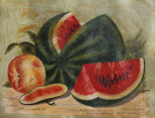 European art antique oil painting still life with watermelon