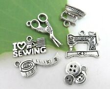 6 I LOVE to SEW Charms, Antique Silver Mixed Sewing Charm Collection Tibetan Set