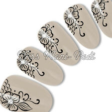 Nail Art Water Slide Decals Transfers Stickers Black Flowers Mehndi Lace S002B