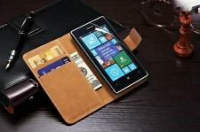 Genuine Real Leather Wallet stand case cover for Nokia Lumia 530 + Screen Guard