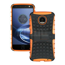 Shockproof Hybrid Rubber Kickstand Phone Case Cover For Moto Z / Z Force Droid