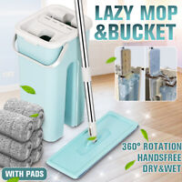 Flat Squeeze Mop + Bucket Free Hand Washing Floor Cleaning Microfiber Mops Set