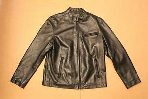 INC International Concepts Men's L/S Leather Bomber Jacket SC4 Black Large