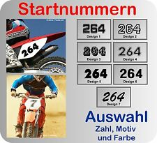 3x Startnummer Wunschnummer Aufkleber Motocross, MX, Enduro viele Farben 8cm