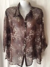 Ladies Brown Sheer Pattern Top (Duchamp), Size 20