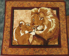 "Handmade * ""Savanna Love"" * Majestic Lions *Applique Wall Hang or Table *38""x33"""