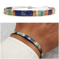 Bracciale da uomo in vetro Miyuki perline perle braccialetto regolabile blu