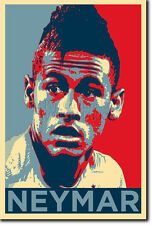 Neymar Arte Foto Imprimir 3 (Obama esperanza parodia) Poster Regalo Fútbol Fútbol Brasil