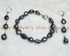 "New 9-10MM Real Black Baroque Cultured Pearl Bracelet Earrings Set 7.5"" AAA"