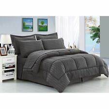 Grey 8 Piece King Size Down Alternative Bed in a Bag Soft Bedding Comforter Set