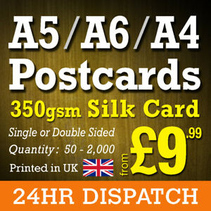 Postcard Printing 350gsm Silk - High Quality A6, A5, A4 Postcards 24hr Dispatch